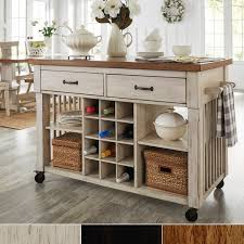 wine rack kitchen island eleanor two tone rolling kitchen island with wine rack by inspire