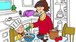 caillou coloring 1 caillou mom baking cake