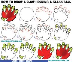 how to draw a dragon u0027s claw holding a glass ball easy step by step