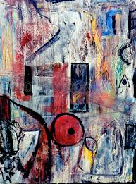 stock photo of oil painting on canvas using primary colors with