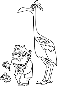 disney pixar up carl fredricksen and kevin coloring pages