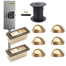 brass led landscape lighting kit 6 deck lights u0026 2 step lights