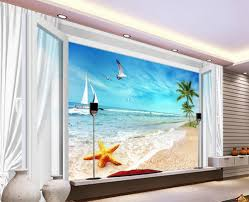 popular blue sky mural buy cheap blue sky mural lots from china custom wallpaper murals blue sky 3d windows starfish beach tree home decoration non woven wallpaper
