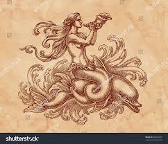 original ink pen drawing mermaid dolphin stock illustration