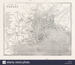 Naples Italy Map Map Of Naples Italy 1860 Engraving Stock Photo Royalty Free