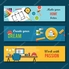Home Interior Design Vector by Architecture And Interior Design Banners U2014 Stock Vector