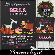 farm party animals invitation for girls personalized d6