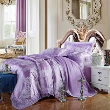 Lilac Bedding Sets Beautiful Flowers Print Bedding Sets Lilac Lace Border Linens Silk