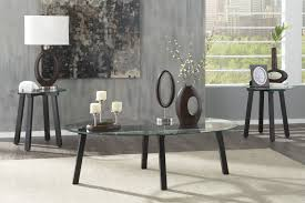 ashley t132 13 iselle black metal 3pc coffee table set with glass tops