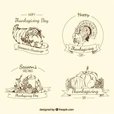 vintage thanksgiving sketches badges vector free