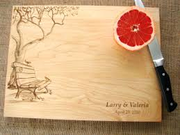 cutting boards engraved engraved cutting board with tree and bench design