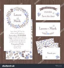 set wedding card invitation flowers hearts stock vector 203395570