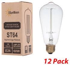 isunmoon 60 watt edison style light bulb 12pack antique edison