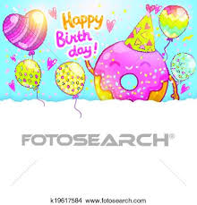 clipart of happy birthday card background with cute donut
