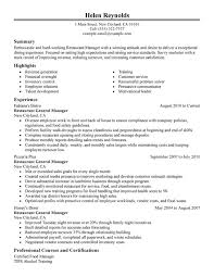restaurant manager resume by helen reynolds writing resume