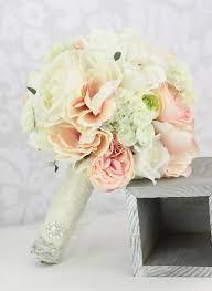 silk bride bouquet peony flowers pink cream spring mix shabby chic