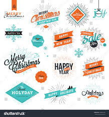 new years vintage style signs stock vector 342091364