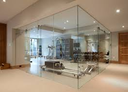 interior glass walls for homes glass wall home fitness room contemporary home toronto