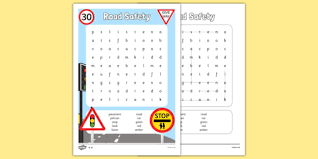road safety differentiated word search road safety word
