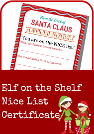 elf on the shelf nice list certificate printable a grande life