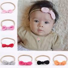 infant hair bows headband solid cotton knot hair bows kids headband