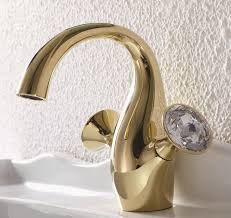 Gold Faucet Bathroom by Crystal Dual Handle Single Hole Bathroom Sink Faucet In Gold Faucet