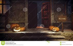 halloween pumpkins on the doorstep stock illustration image