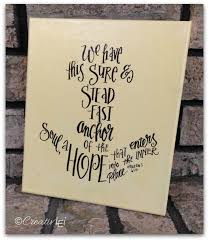 Love Anchors The Soul Hebrews - hand lettered stretched canvas hebrews 6 19 creativlei