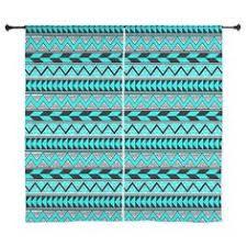Mint Blue Curtains Mint Aztec Curtains