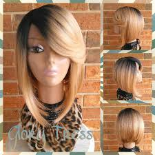 brown and blonde ombre with a line hair cut on sale celebrity inspired short yaky bob wig ombre blonde