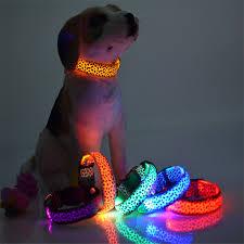 Fashion Leopard Led Dog Collar Flashing In Dark Nylon 3 Mode