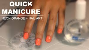 quick manicure at home neon orange nail art youtube