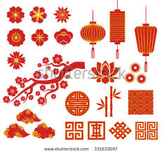 korean new year card korean or japan decorative vector icons for new