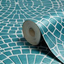 turquoise stone wallpaper fine décor ceramica teal mosaic wallpaper departments diy at b u0026q