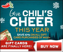 chili gift card save 10 of 100 gift card purchase for chili s maggiano s