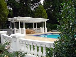 luxury white nuance garden wall designs with modern pool inside