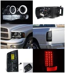 2003 dodge ram tail lights dodge ram 2500 2003 2005 smoked halo headlights and led tail lights
