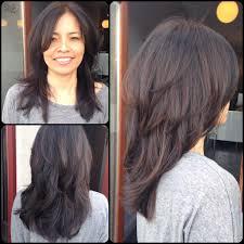 dark hair caramel highlight layers throughout with long bangs