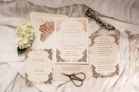 Gold Foil Wedding Invitations Justine Alex U0027s Luxurious Rose Gold Foil Wedding Invitation Suite