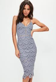 blue lace ladder detail midi dress missguided
