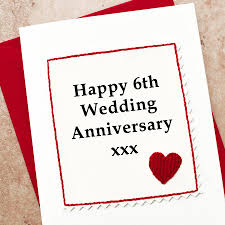 6th wedding anniversary gift ideas handmade 6th wedding anniversary card by arnott cards
