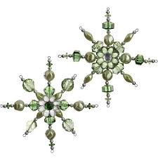 green beaded snowflake ornament from raz imports