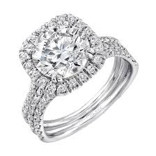 platinum pave rings images Uneek round diamond engagement ring with cushion shaped halo and png