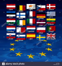 Poland Map Flag Flags Of Eu Member Nations With Names And At Bottom A Map And The