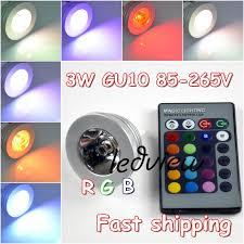free shipping 3 pcs lot high power rgb led light 3w gu10 remote
