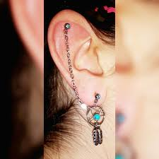 earring with chain to cartilage aliexpress buy bog lot 3 pieces catcher ear piercing