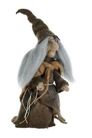 halloween figurine felt witch figurine with black cat fairytale home decor