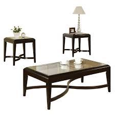 steve silver ellen round faux marble 3 piece coffee table set