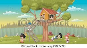 Backyard Clip Art Eps Vectors Of Kids Playing On The Backyard Tree Cute Happy