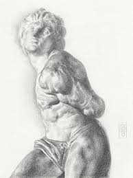graphite drawing of the rebellious slave sculpture by michelangelo